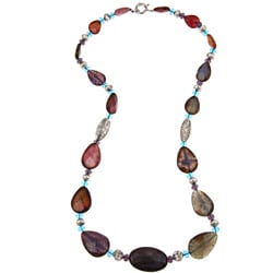 Pearlz Ocean Multi-colored Agate and Glass Bead Necklace