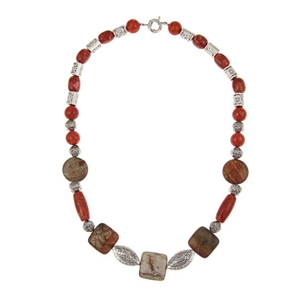 Pearlz Ocean Coral and Mookite Bead Necklace
