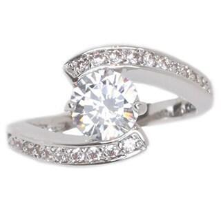 NEXTE Jewelry Silvertone Pirouette Solitaire Cubic Zirconia Ring