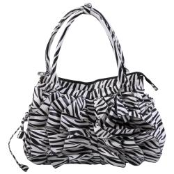 Journee Collection Women's Zebra Print Ruffled Tote Bag