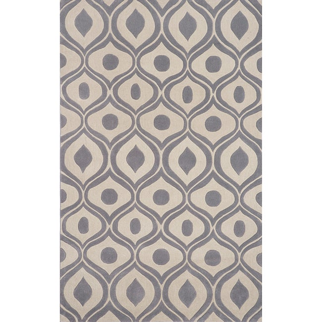 "Modern Waves Grey Hand-Tufted Rug (5' x 7'6"")"