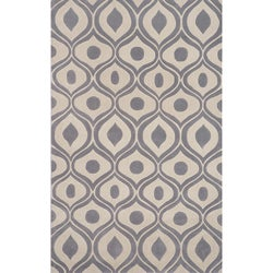 Hand-tufted Modern Waves Grey Rug (5'0 x 7'6