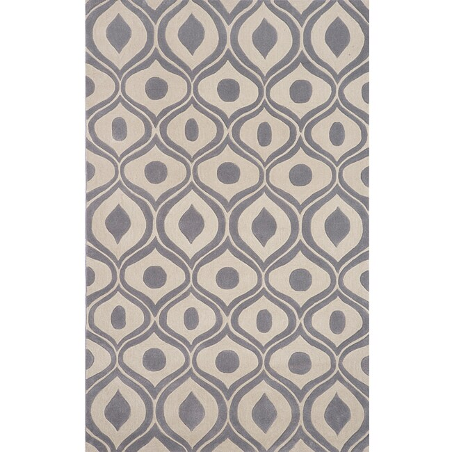 "Modern Waves Grey Hand-Tufted Rug (3'6"" x 5'6"")"