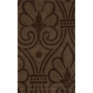 Hand-tufted Modern Damask Green Rug (5'0