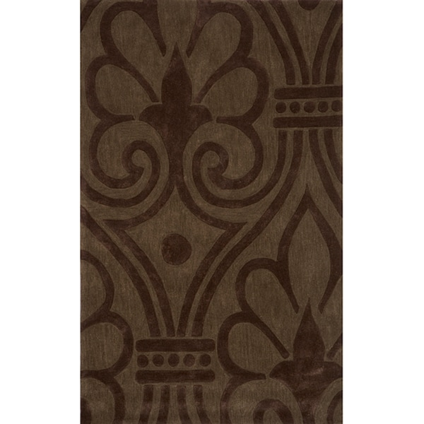 "Hand-tufted Modern Damask Green Rug (5'0"" x 7'6"")"