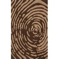 "Hand-tufted Swirl Brown Rug (8'0 ""x 10'0"")"