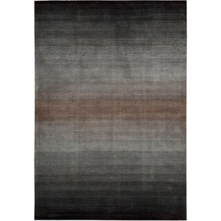 Nourison Hand-Tufted Contours Striped Grey Rug (7'3 x 9'3)