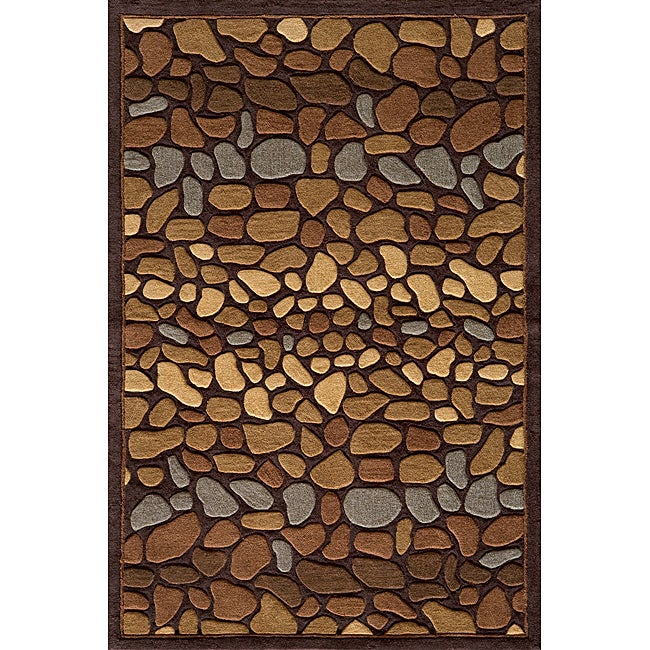 "Hand-tufted Pebbles Brown Rug (8'0"" x 10'0"")"