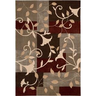 Nourison Hand-Tufted Contours Mocca Floral Rug (5' x 7'6