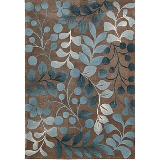 Nourison Hand-tufted Contours Botanical Mocha Rug (3'6 x 5'6)