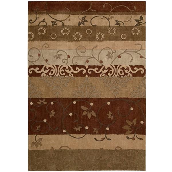 "Contemporary Nourison Hand-Tufted Contours Multicolor Rug (7'3"" x 9'3"")"