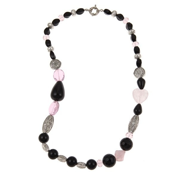 Pearlz Ocean Onyx, Rose Quartz and Pink Glass Necklace