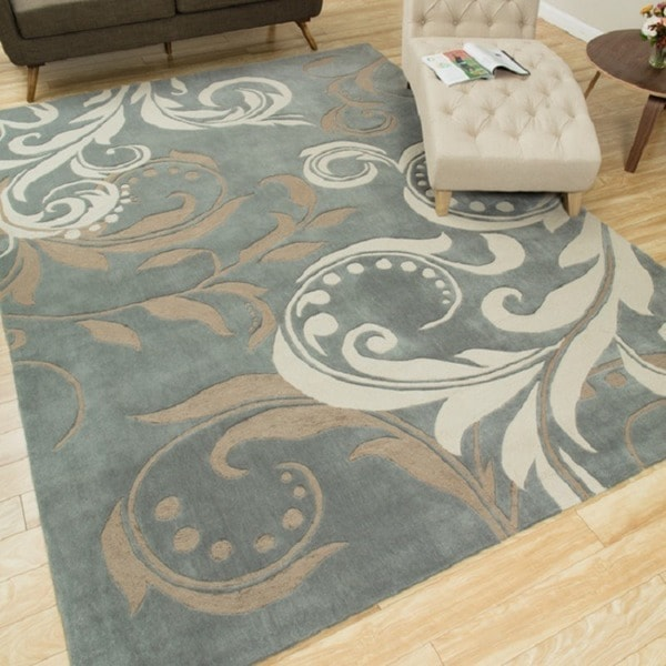 Nourison Hand-tufted Contours Silver Rug (5' x 7'6)