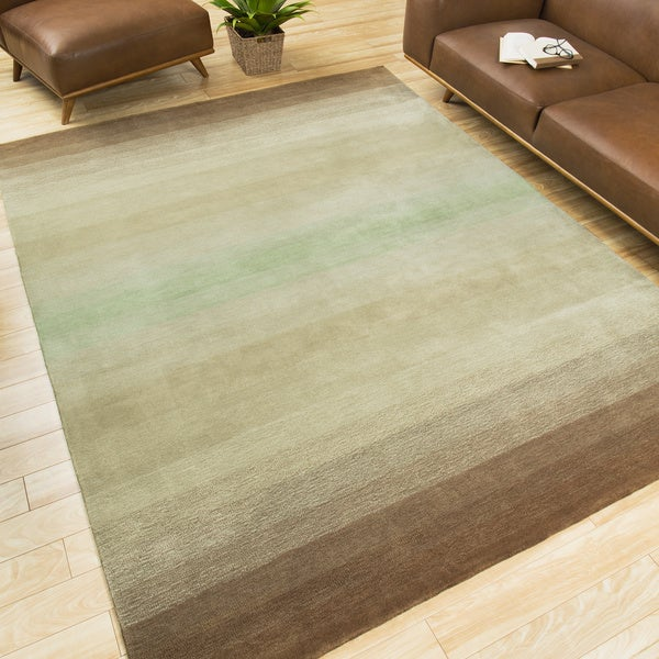 9x12 New Nourison Nourmak Hand Knotted Wool Reversible: Nourison Hand-tufted Contours Natural Area Rug (7'3 X 9'3