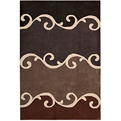 Nourison Hand-tufted Contours Mocca Rug (3'6 x 5'6)
