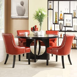 Westmont 5-piece Hot Red Faux Leather 54-inch Round Dining Set