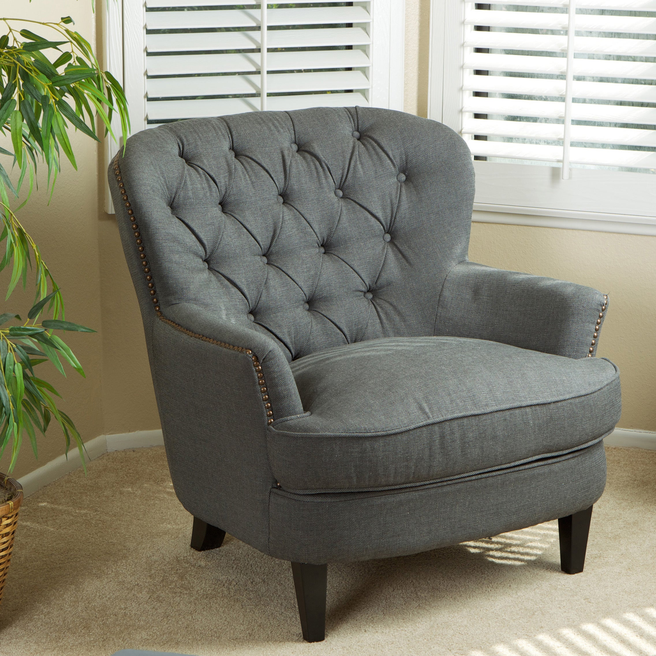 1Cheap Christopher Knight Home Tafton Tufted Grey Fabric