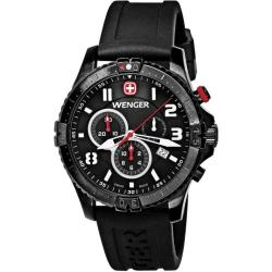 Wenger Men's 'Squadron Chrono' Stainless-Steel Black Dial Watch