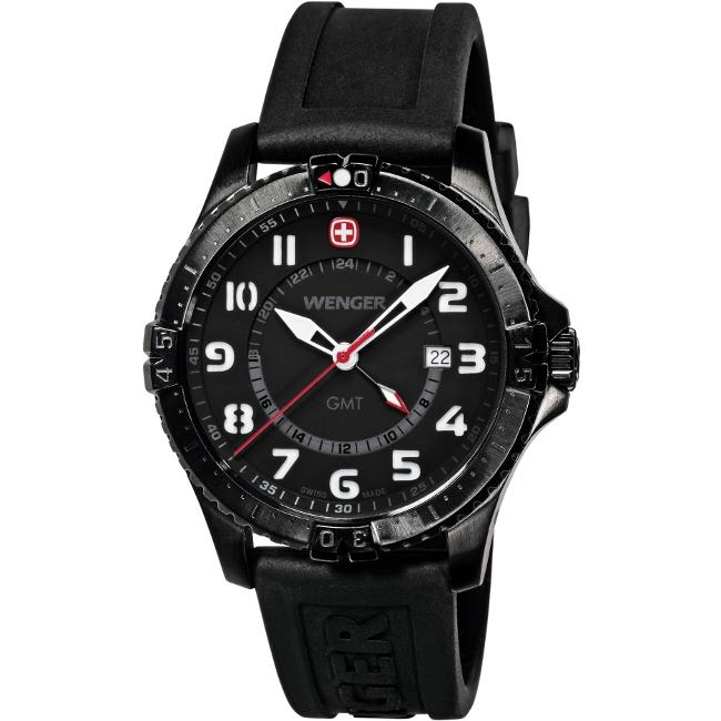 Wenger Men's 'Squadron GMT' Black Dial Dual Time Watch
