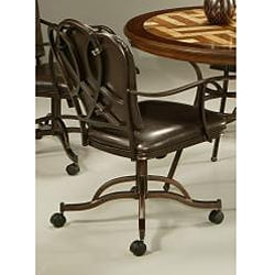 Oxford Brown PVC Leather Dining Caster Chair