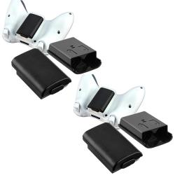 INSTEN Black Wireless Controller Battery Shell for Microsoft xBox 360 (Pack of 2)
