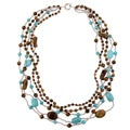 Pearlz Ocean Tiger's Eye and Howlite 5-row Necklace