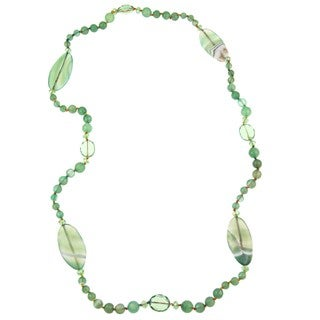 Pearlz Ocean Agate and Glass Bead Knotted Necklace