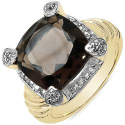 Sheila Kay Women's 14k Gold Overlay Smokey Quartz and White Topaz Ring