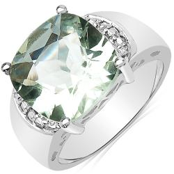 Sheila Kay High-Polish Platinum-Overlay Green Amethyst Ring