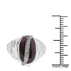 Sheila Kay Platinum Overlay Ruby and Diamond Accent Ring