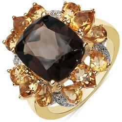 Sheila Kay 14K Gold-Overlay Pear-Cut Smokey Quartz and Citrine Ring