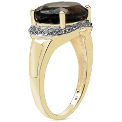 Sheila Kay 14k Yellow Gold Overlay Smokey Quartz and White Topaz Ring