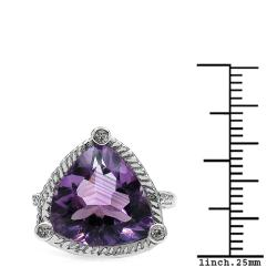 Sheila Kay Platinum Overlay Amethyst and White Topaz Ring