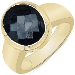 Sheila Kay 14k Yellow Gold Overlay Dyed Black Sapphire Ring
