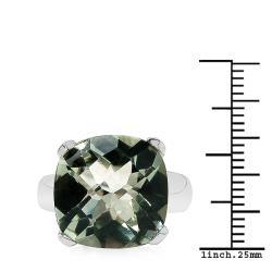 Sheila Kay Platinum Overlay Green Amethyst Ring
