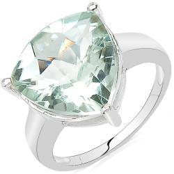 Sheila Kay Platinum-Overlay Trillion-Cut Green Amethyst Ring