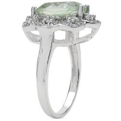 Sheila Kay Platinum Overlay Green Amethyst and White Topaz Ring