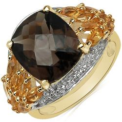 Sheila Kay 14k Yellow Gold Overlay Smokey Quartz and Citrine Ring
