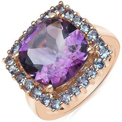 Sheila Kay 14k Rose Gold Overlay Amethyst and Tanzanite Ring