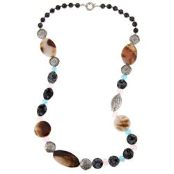 Pearlz Ocean Snowflake Obsidian and Agate 27-inch Necklace