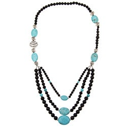 Pearlz Ocean Black Onyx and Turquoise Howlite Bib Necklace