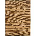 Cream/ Brown Abstract Polypropylene Area Rug (7'9 x 9'9)