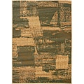 Green/ Cream Abstract Area Rug (9'2 x 12'5)