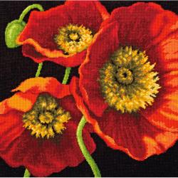 Red Poppy Trio Needlepoint Kit