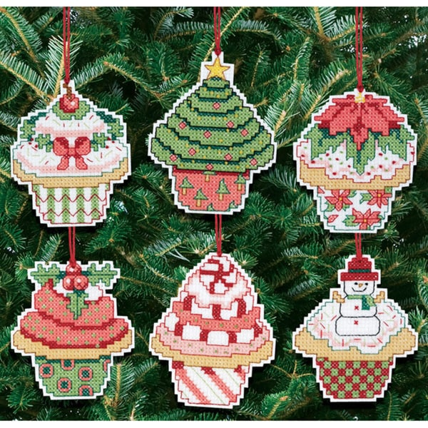 Christmas Cupcake Ornaments Counted Cross Stitch Kit