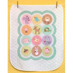 Baby Hugs Happi Woodland Quilt Stamped Cross Stitch Kit