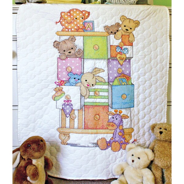 Baby Hugs Baby Drawers Quilt Stamped Cross Stitch Kit