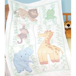 Stamped Jungle Fun White Quilt Crib Top