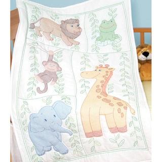 Stamped Jungle Fun White Quilt Crib Top