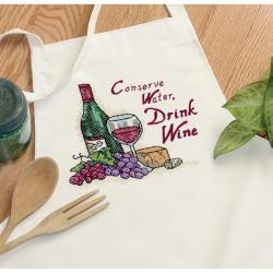Dimensions Drink Wine Apron Stamped Cross Stitch Kit